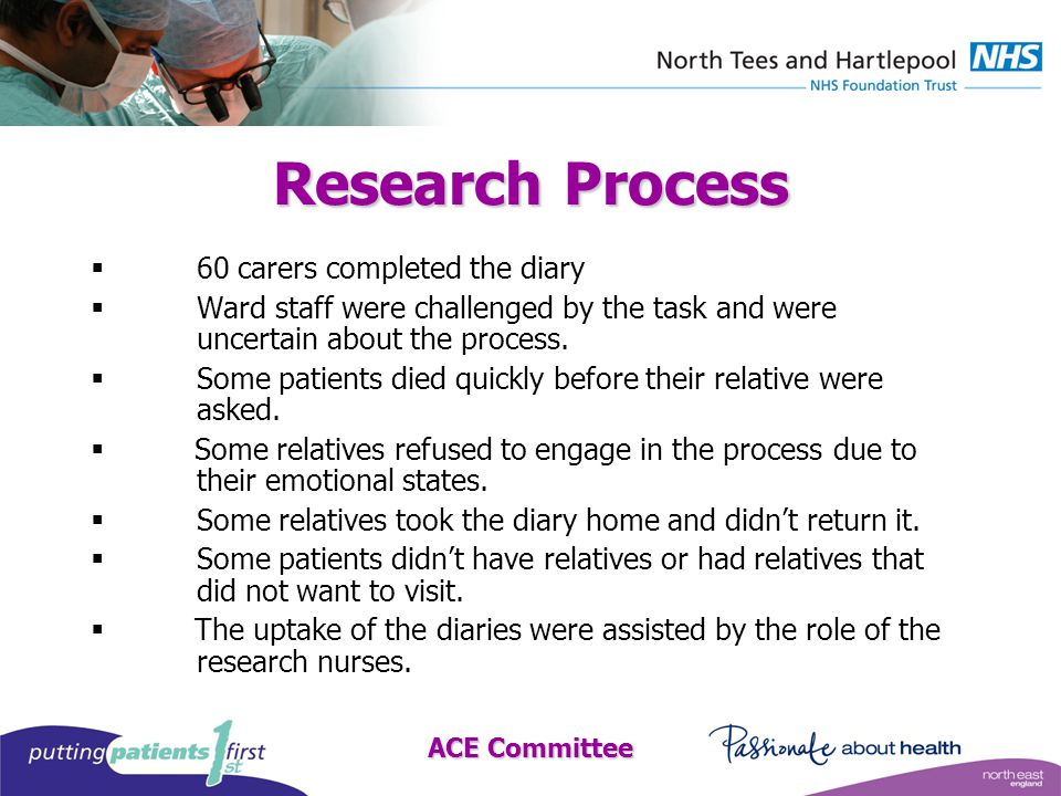ACE Committee Research Process  60 carers completed the diary  Ward staff were challenged by the task and were uncertain about the process.