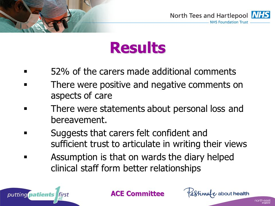 Results  52% of the carers made additional comments  There were positive and negative comments on aspects of care  There were statements about personal loss and bereavement.