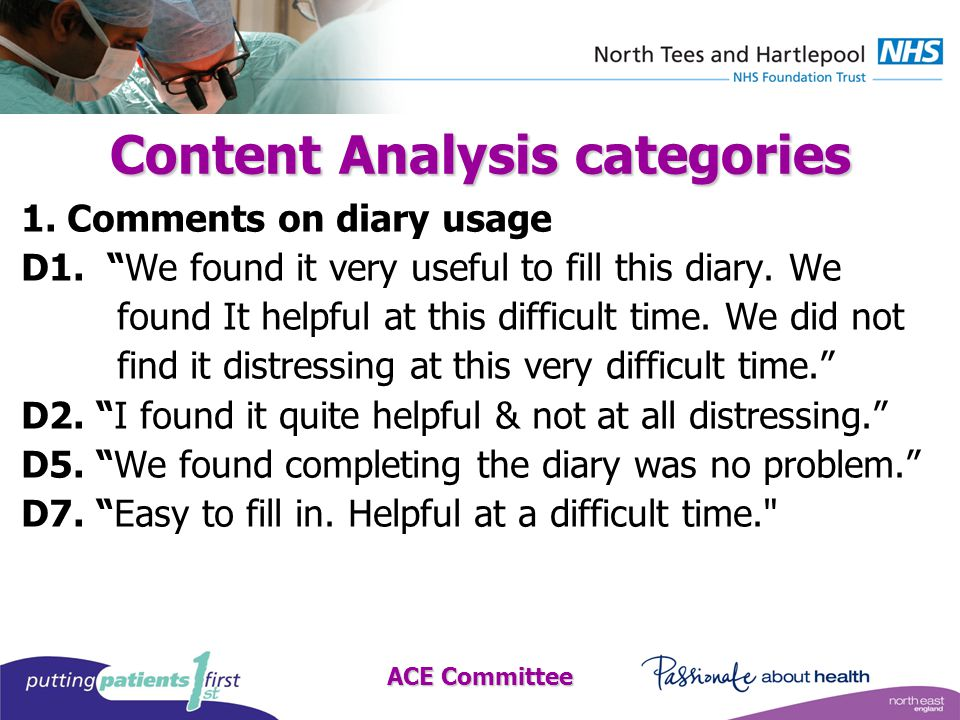 ACE Committee Content Analysis categories 1. Comments on diary usage D1.