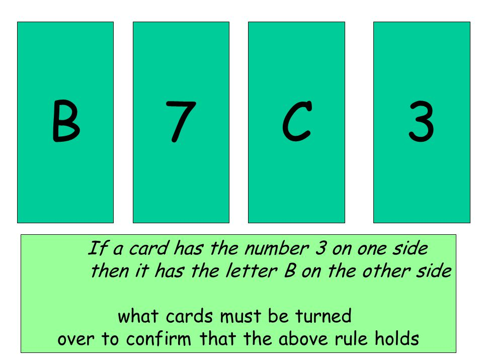 B7C3 If a card has the number 3 on one side then it has the letter B on the other side what cards must be turned over to confirm that the above rule holds