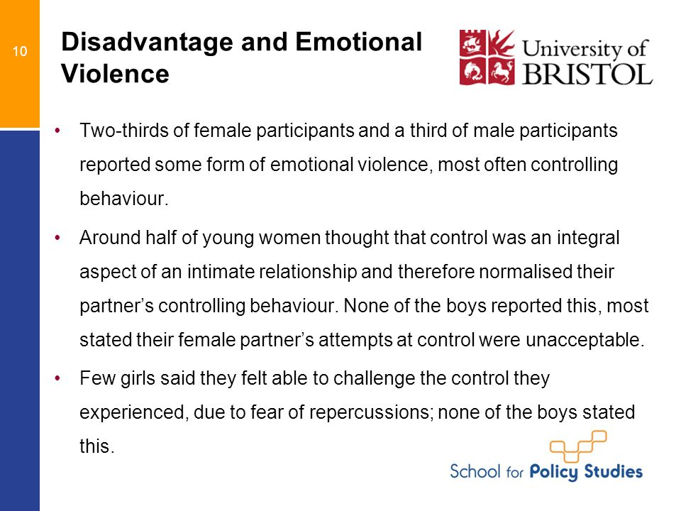 10 Disadvantage and Emotional Violence Two-thirds of female participants and a third of male participants reported some form of emotional violence, most often controlling behaviour.