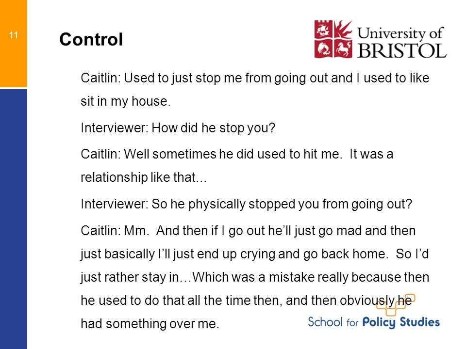 Control Caitlin: Used to just stop me from going out and I used to like sit in my house.