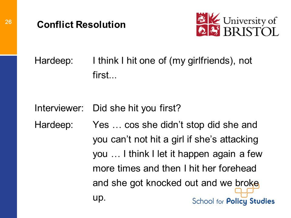 26 Conflict Resolution Hardeep: I think I hit one of (my girlfriends), not first...