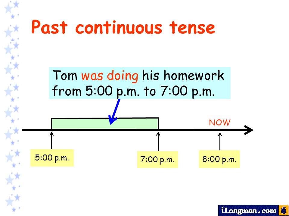 NOW do homework 5:00 p.m. 8:00 p.m. 7:00 p.m. Tom was doing his homework from 5:00 p.m. to 7:00 p.m. Past continuous tense