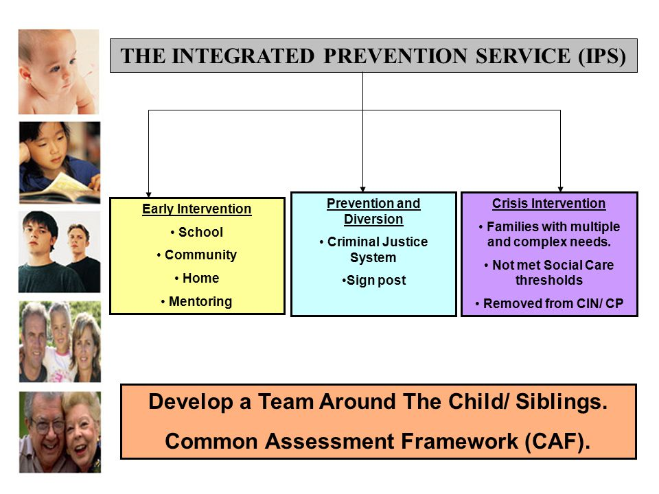 Early Intervention School Community Home Mentoring Prevention and Diversion Criminal Justice System Sign post Crisis Intervention Families with multip