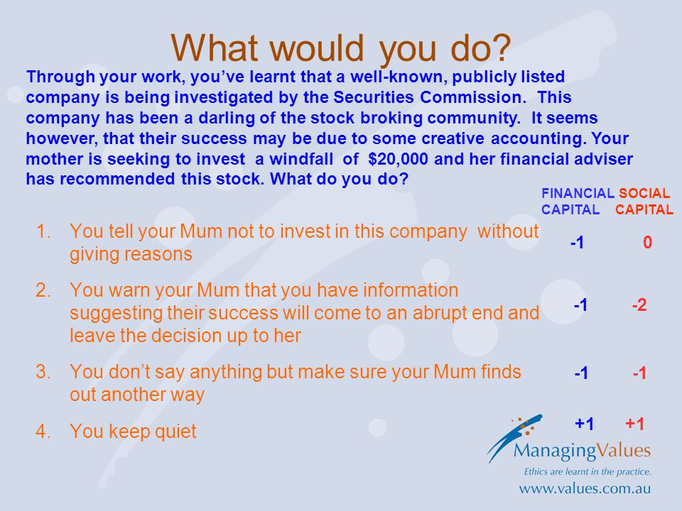 Through your work, you've learnt that a well-known, publicly listed company is being investigated by the Securities Commission.