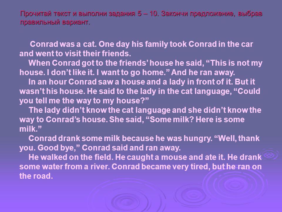 Задание 5.When Conrad got to the friends' house,… Задание 5.