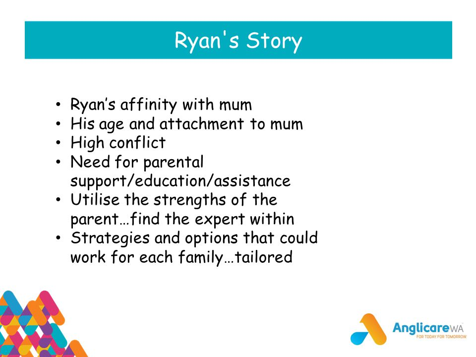 Ryan's affinity with mum His age and attachment to mum High conflict Need for parental support/education/assistance Utilise the strengths of the paren