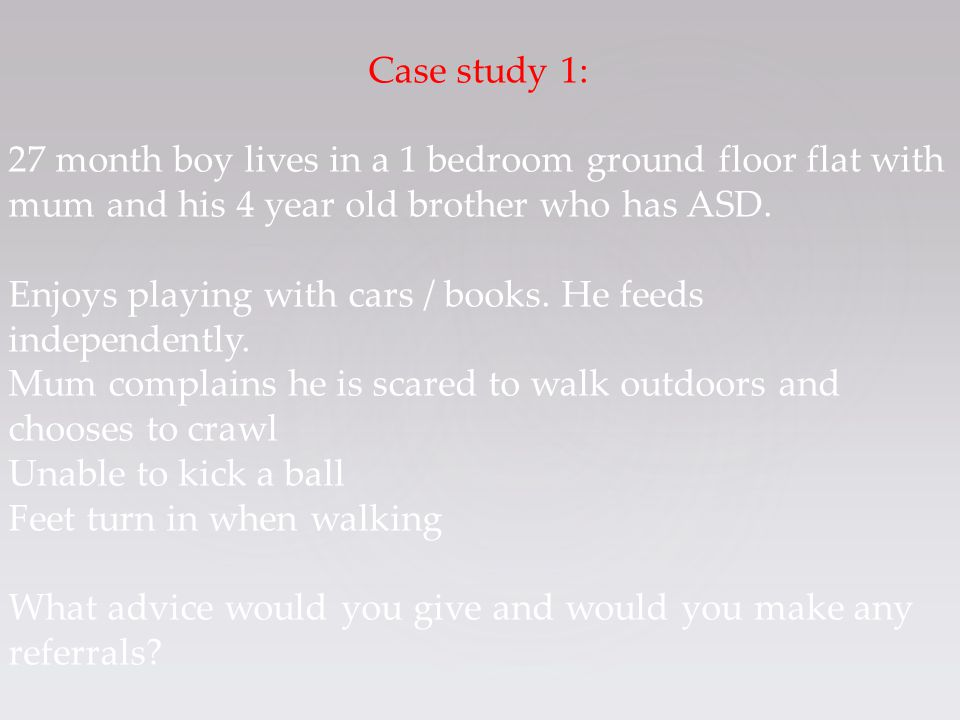 Case study 1: 27 month boy lives in a 1 bedroom ground floor flat with mum and his 4 year old brother who has ASD. Enjoys playing with cars / books. H