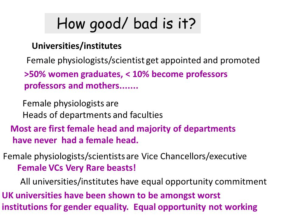 Female physiologists are Heads of departments and faculties Female physiologists/scientists are Vice Chancellors/executive All universities/institutes have equal opportunity commitment Universities/institutes Female physiologists/scientist get appointed and promoted Most are first female head and majority of departments have never had a female head.