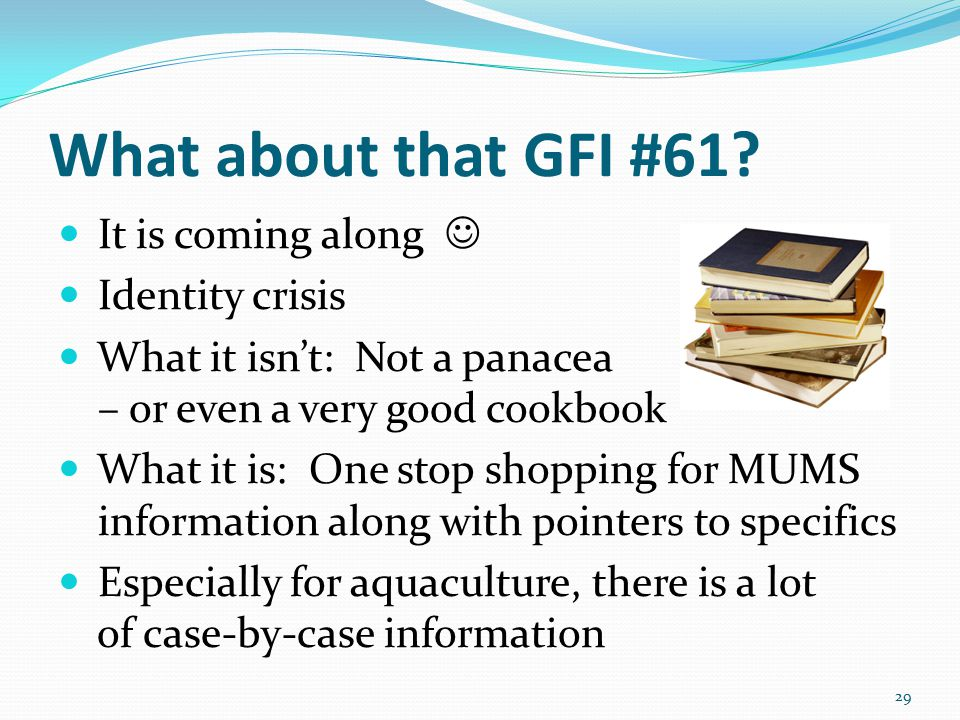 What about that GFI #61? It is coming along Identity crisis What it isn't: Not a panacea – or even a very good cookbook What it is: One stop shopping