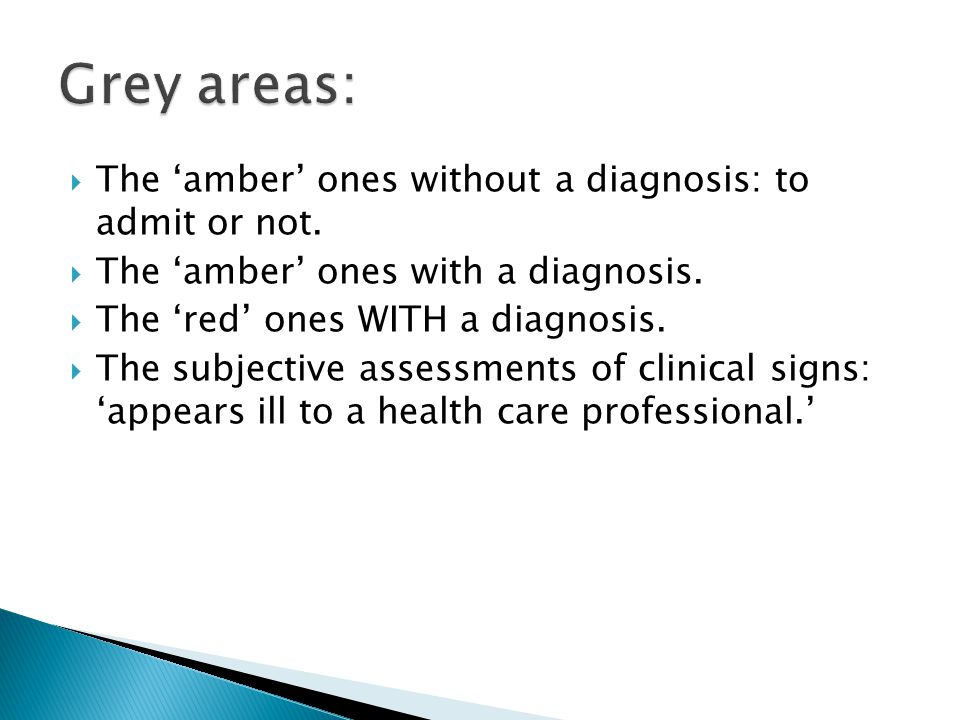  The 'amber' ones without a diagnosis: to admit or not.