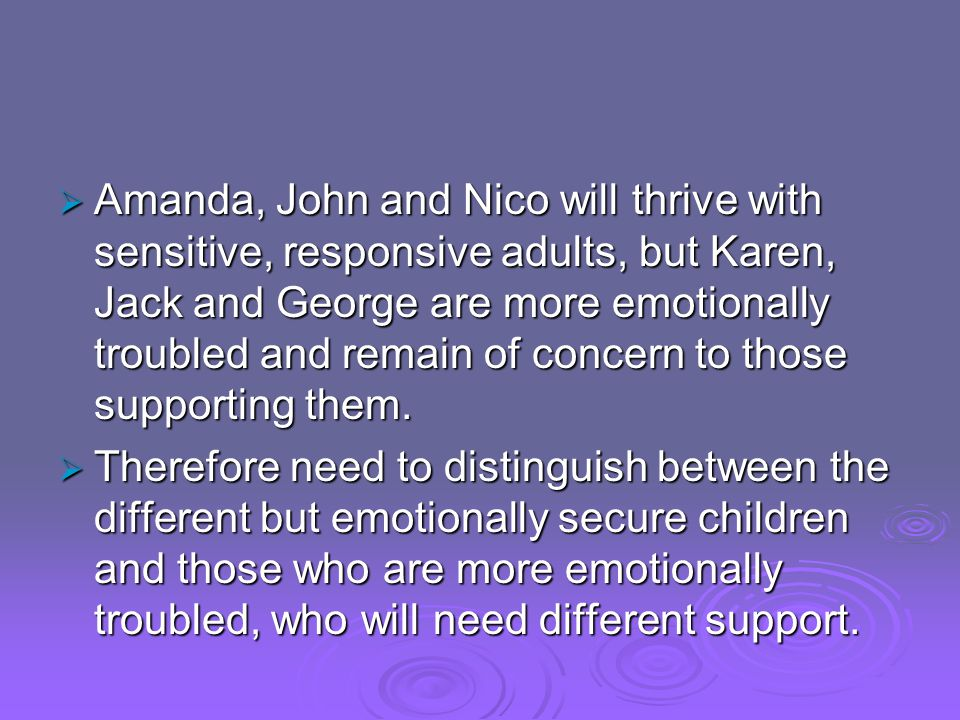  Amanda, John and Nico will thrive with sensitive, responsive adults, but Karen, Jack and George are more emotionally troubled and remain of concern