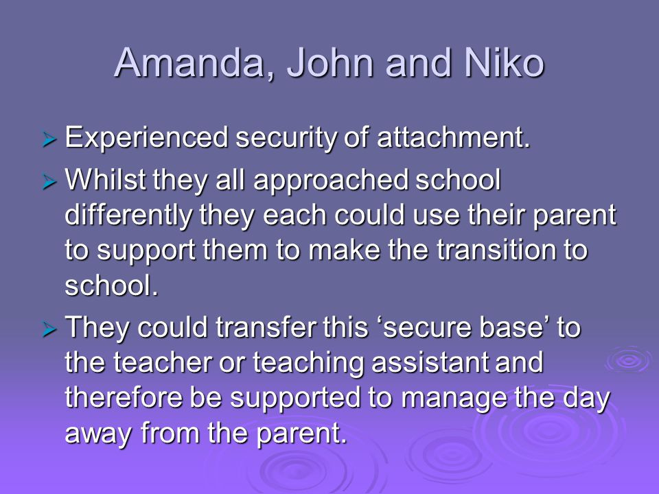 Amanda, John and Niko  Experienced security of attachment.  Whilst they all approached school differently they each could use their parent to suppor