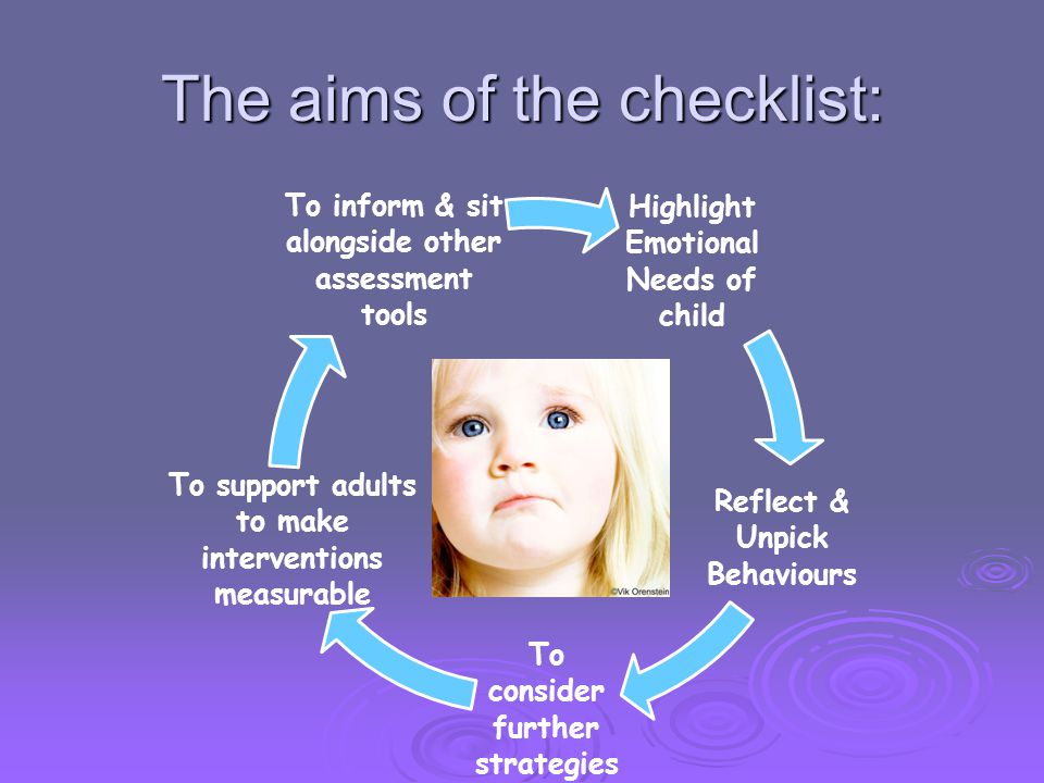 The aims of the checklist: Highlight Emotional Needs of child Reflect & Unpick Behaviours To consider further strategies To support adults to make int