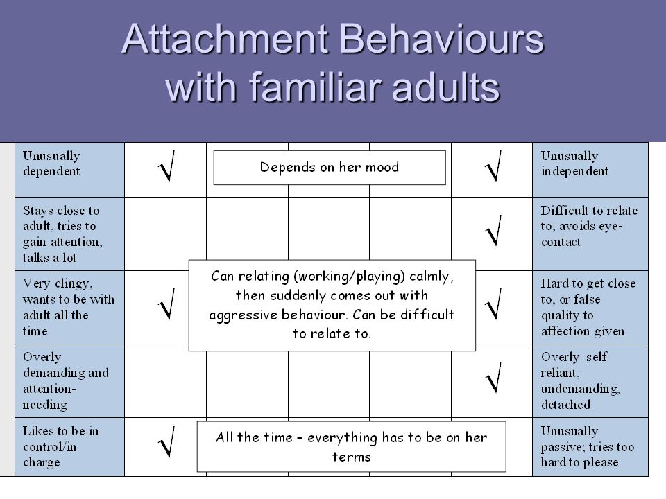 Attachment Behaviours with familiar adults
