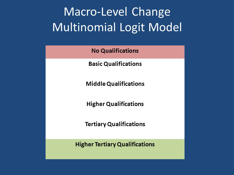 Macro-Level Change Multinomial Logit Model No Qualifications Basic Qualifications Middle Qualifications Higher Qualifications Tertiary Qualifications