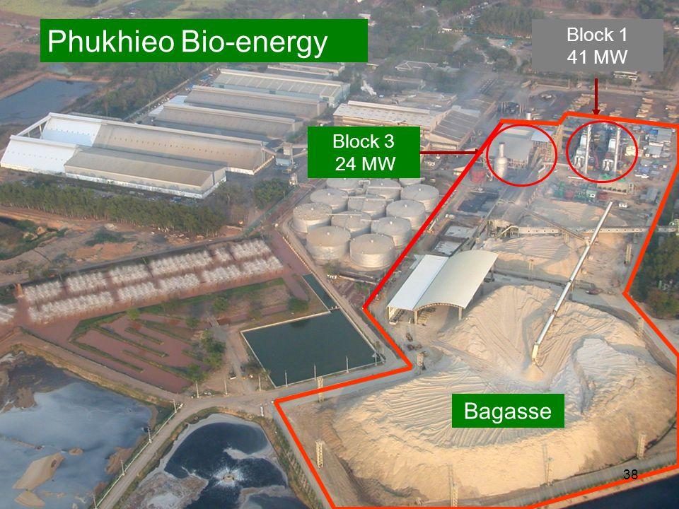 Block 3 24 MW Block 1 41 MW Phukhieo Bio-energy Bagasse 38