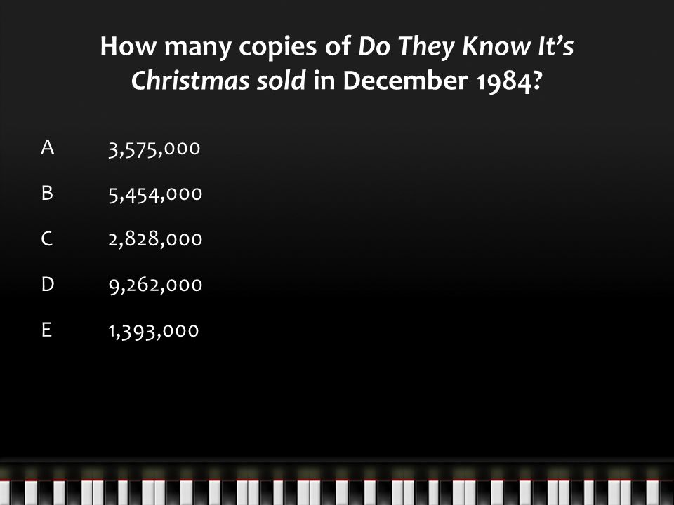How many copies of Do They Know It's Christmas sold in December 1984.