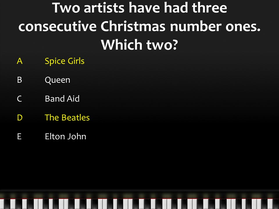 Two artists have had three consecutive Christmas number ones.