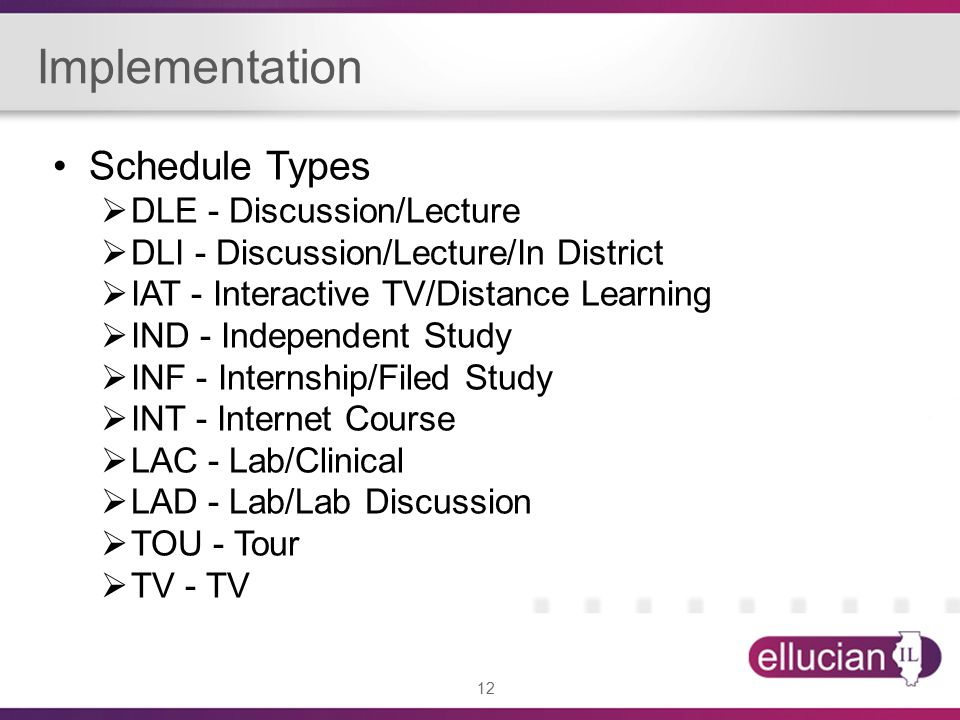 12 Implementation Schedule Types  DLE - Discussion/Lecture  DLI - Discussion/Lecture/In District  IAT - Interactive TV/Distance Learning  IND - Independent Study  INF - Internship/Filed Study  INT - Internet Course  LAC - Lab/Clinical  LAD - Lab/Lab Discussion  TOU - Tour  TV - TV