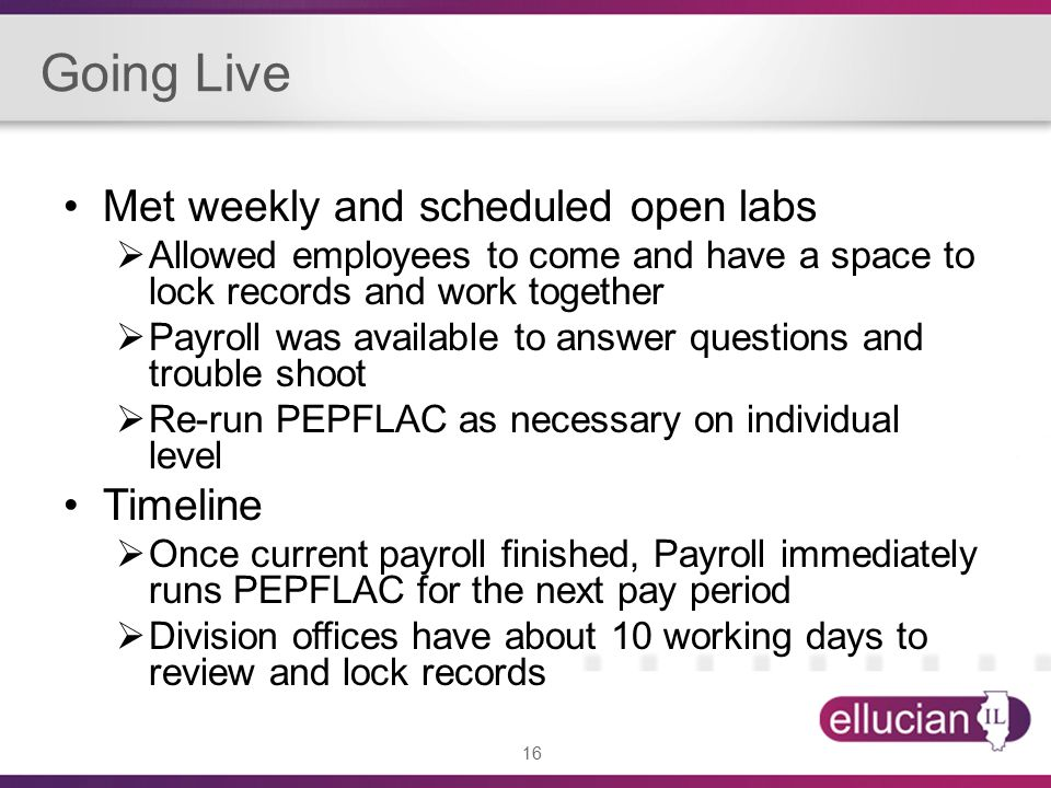 16 Going Live Met weekly and scheduled open labs  Allowed employees to come and have a space to lock records and work together  Payroll was available to answer questions and trouble shoot  Re-run PEPFLAC as necessary on individual level Timeline  Once current payroll finished, Payroll immediately runs PEPFLAC for the next pay period  Division offices have about 10 working days to review and lock records