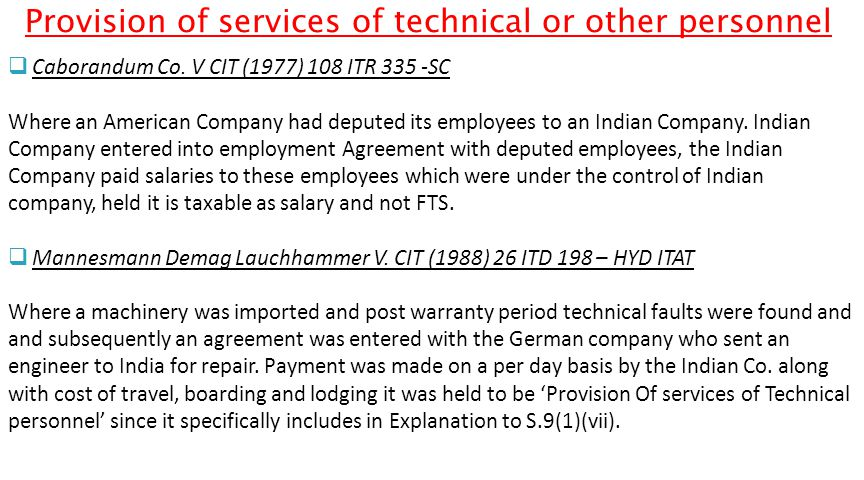 Provision of services of technical or other personnel  Caborandum Co.