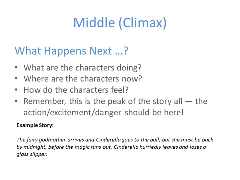 Middle (Climax) What Happens Next …. What are the characters doing.
