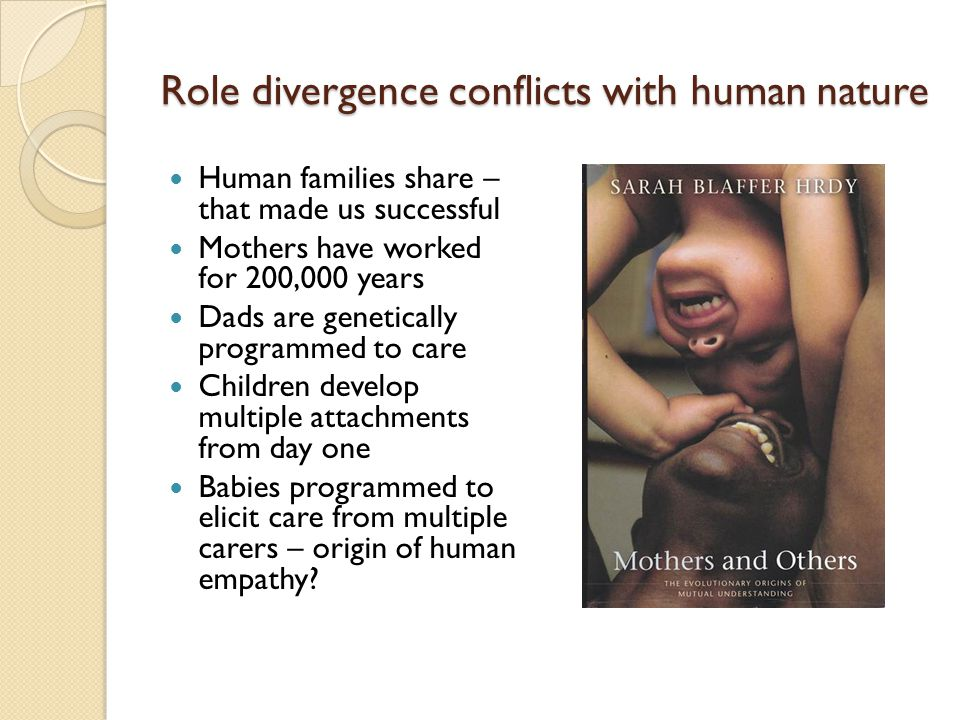 Role divergence conflicts with human nature Human families share – that made us successful Mothers have worked for 200,000 years Dads are genetically programmed to care Children develop multiple attachments from day one Babies programmed to elicit care from multiple carers – origin of human empathy?