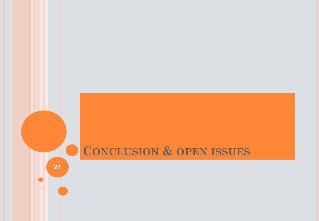 C ONCLUSION & OPEN ISSUES 27