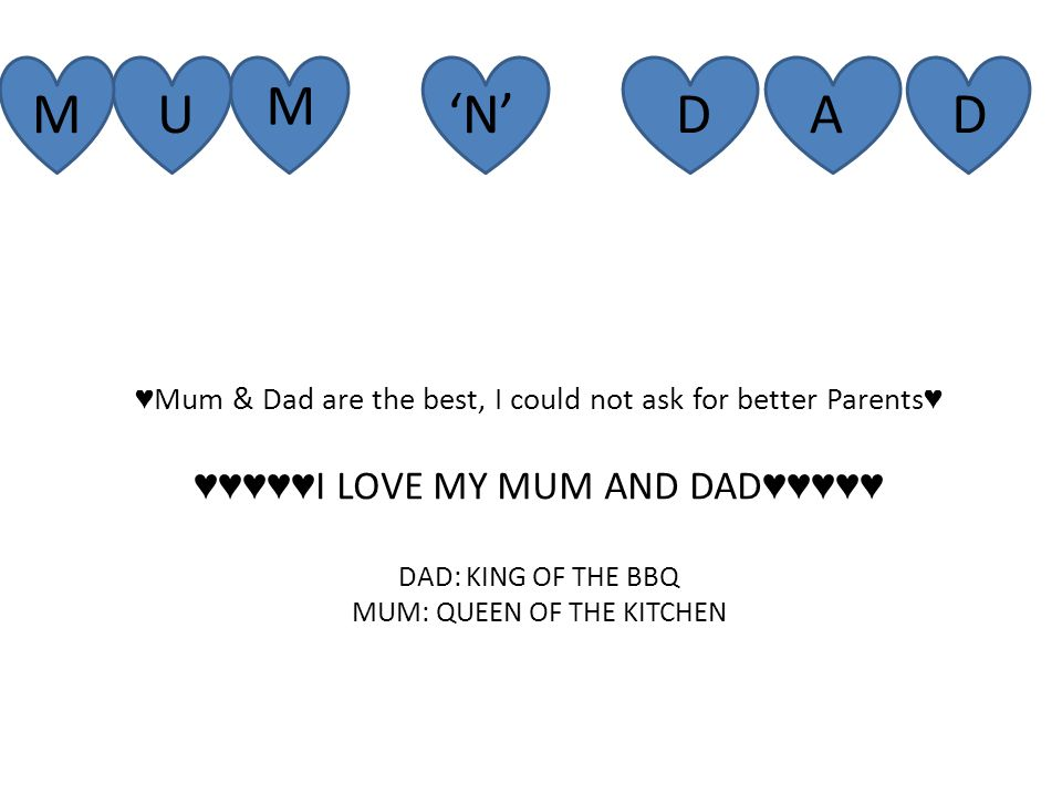 M M U 'N'DAD ♥ Mum & Dad are the best, I could not ask for better Parents ♥ ♥♥♥♥♥ I LOVE MY MUM AND DAD ♥♥♥♥♥ DAD: KING OF THE BBQ MUM: QUEEN OF THE KITCHEN