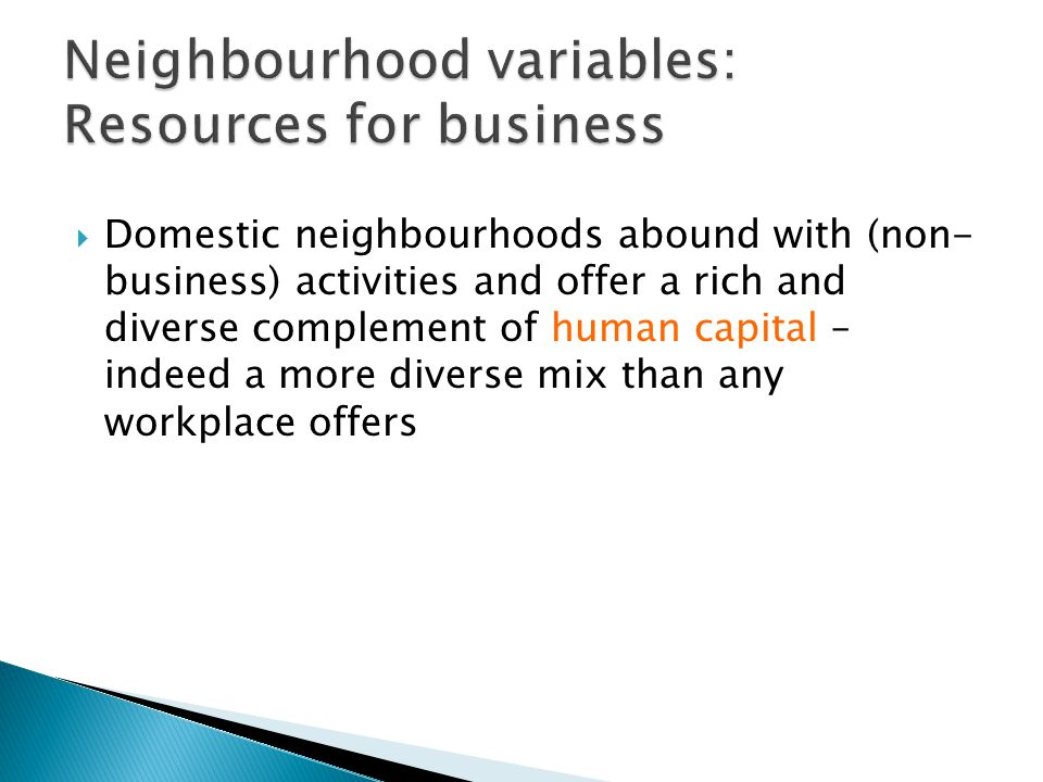  Domestic neighbourhoods abound with (non- business) activities and offer a rich and diverse complement of human capital – indeed a more diverse mix than any workplace offers
