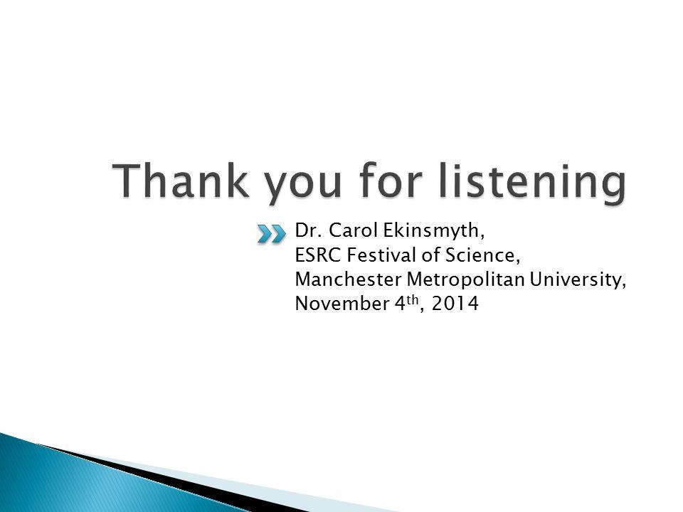 Dr. Carol Ekinsmyth, ESRC Festival of Science, Manchester Metropolitan University, November 4 th, 2014