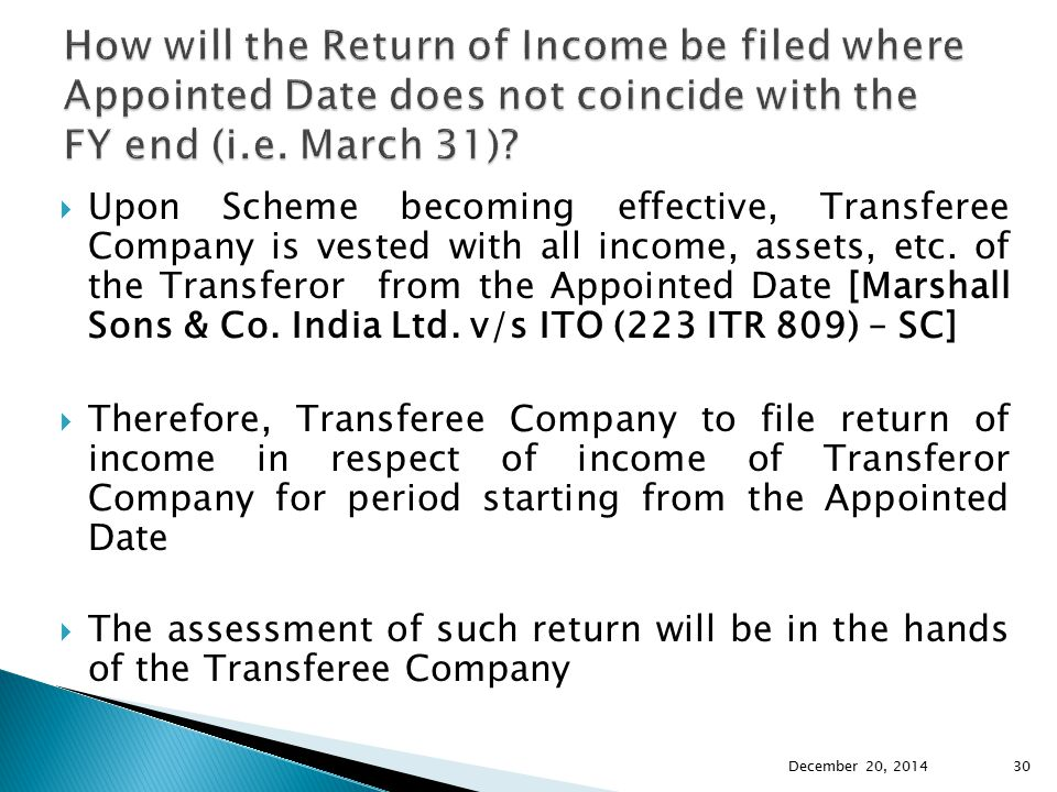  Upon Scheme becoming effective, Transferee Company is vested with all income, assets, etc. of the Transferor from the Appointed Date [Marshall Sons
