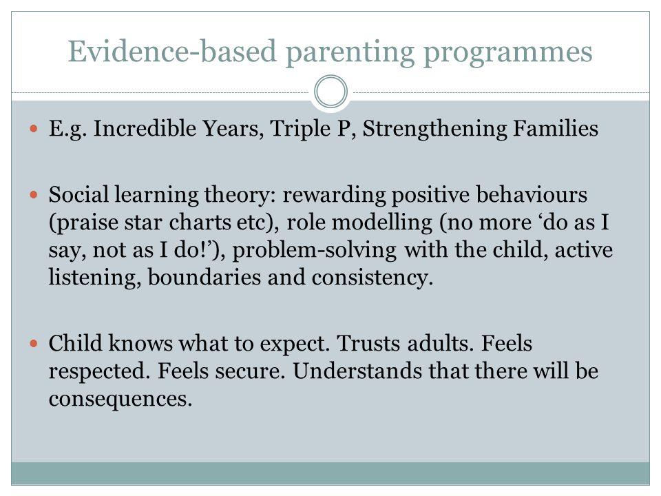 Evidence-based parenting programmes E.g.