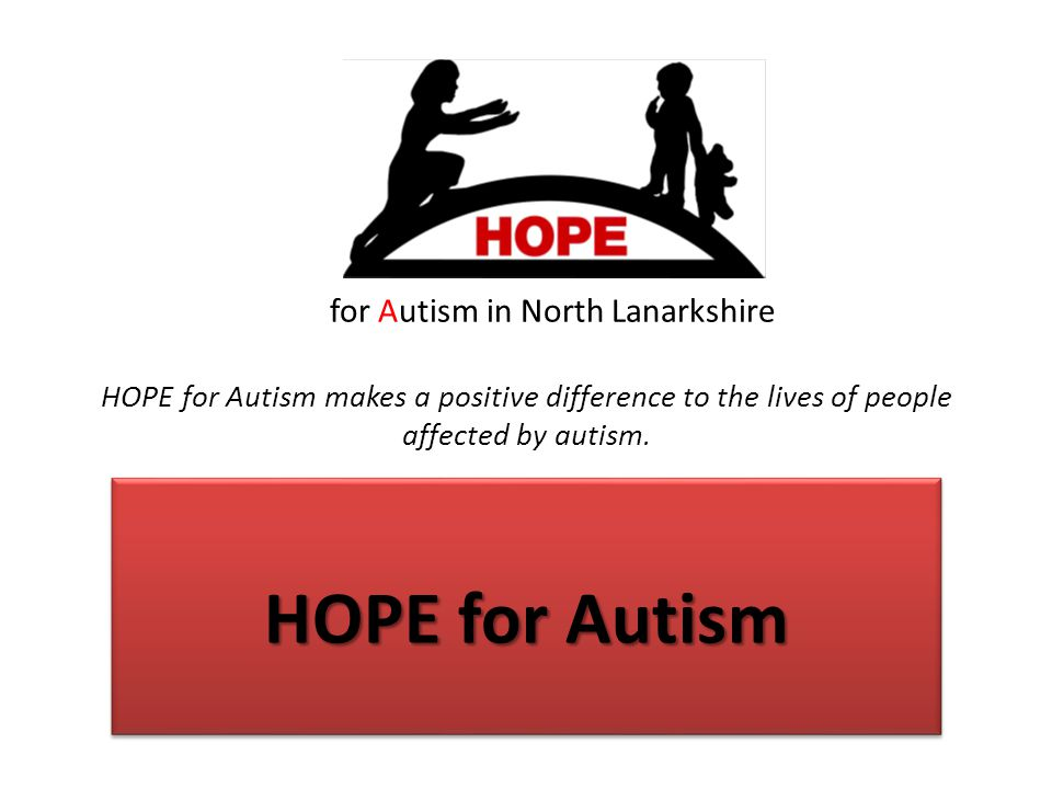 THE HISTORY OF HOPE Local Parents attended NAS support group meeting in Airdrie Unfulfilled parents created support network for local families affected by ASD Organised swimming and youth group sessions for young people affected by ASD in North Lanarkshire Registered charity in 2002 June 2006 moved to HOPE Centre Undergone changes in April 2013