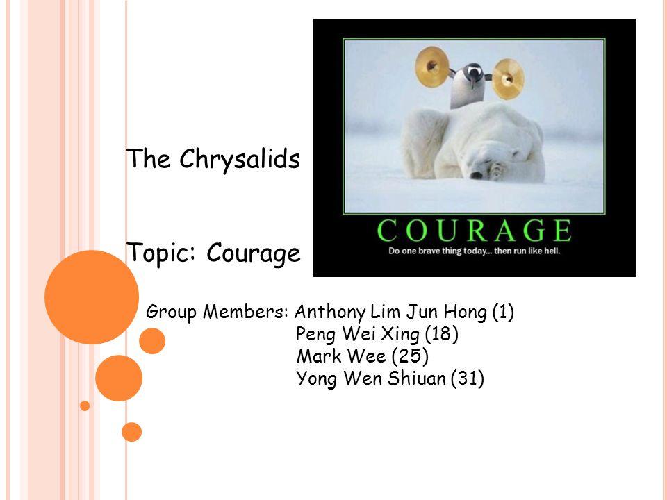 The Chrysalids Topic: Courage Group Members: Anthony Lim Jun Hong (1) Peng Wei Xing (18) Mark Wee (25) Yong Wen Shiuan (31)
