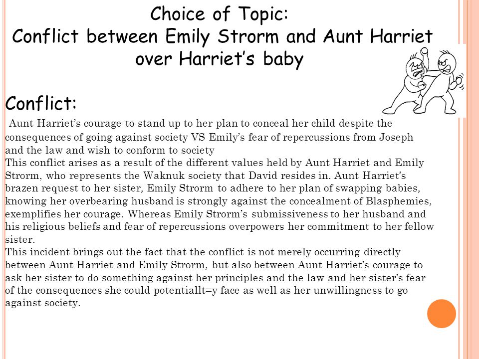 Choice of Topic: Conflict between Emily Strorm and Aunt Harriet over Harriet's baby Conflict: Aunt Harriet's courage to stand up to her plan to conceal her child despite the consequences of going against society VS Emily's fear of repercussions from Joseph and the law and wish to conform to society This conflict arises as a result of the different values held by Aunt Harriet and Emily Strorm, who represents the Waknuk society that David resides in.