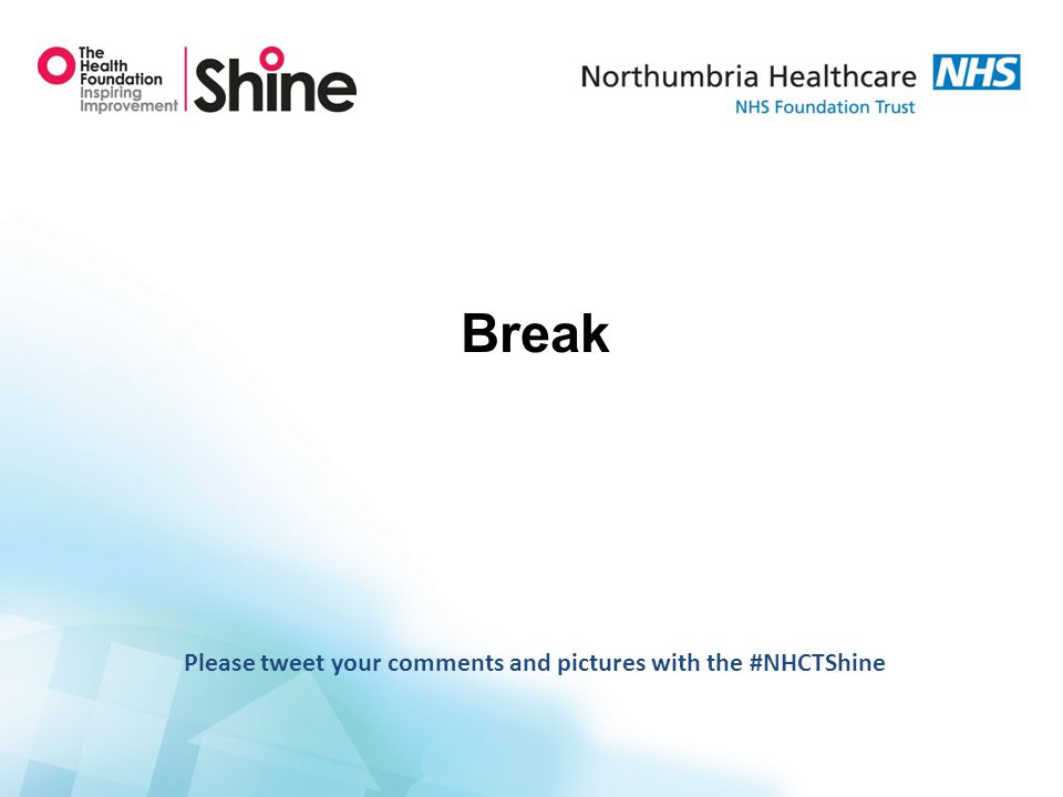Break Please tweet your comments and pictures with the #NHCTShine
