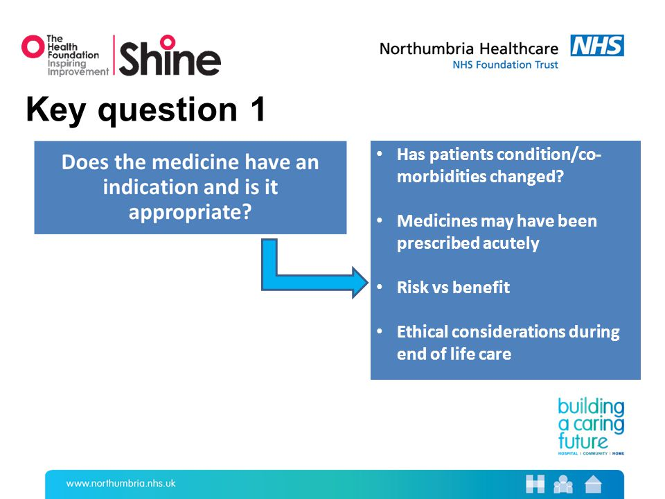 Key question 1 Has patients condition/co- morbidities changed.