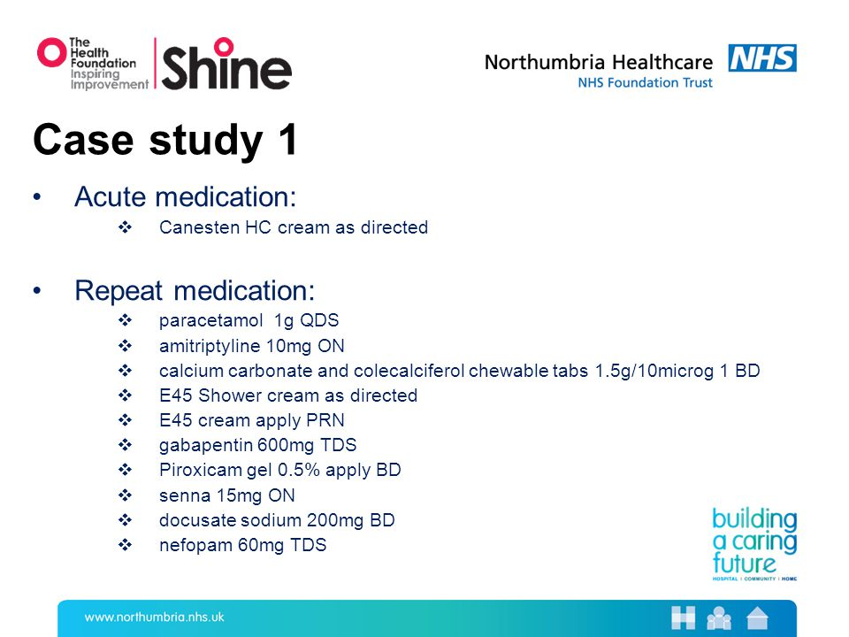 Case study 1 Acute medication:  Canesten HC cream as directed Repeat medication:  paracetamol 1g QDS  amitriptyline 10mg ON  calcium carbonate and colecalciferol chewable tabs 1.5g/10microg 1 BD  E45 Shower cream as directed  E45 cream apply PRN  gabapentin 600mg TDS  Piroxicam gel 0.5% apply BD  senna 15mg ON  docusate sodium 200mg BD  nefopam 60mg TDS