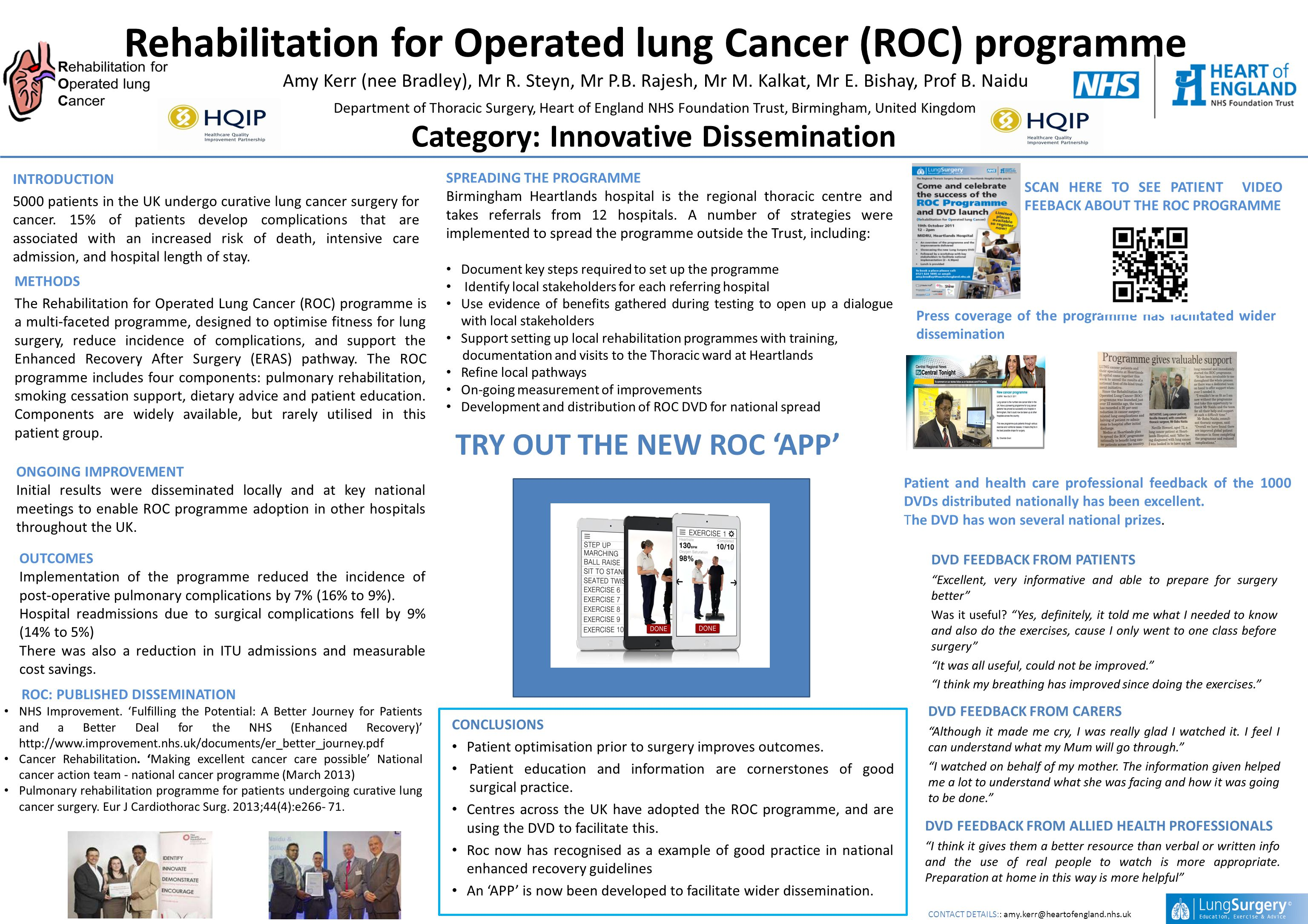 Rehabilitation for Operated lung Cancer (ROC) programme Amy Kerr (nee Bradley), Mr R.