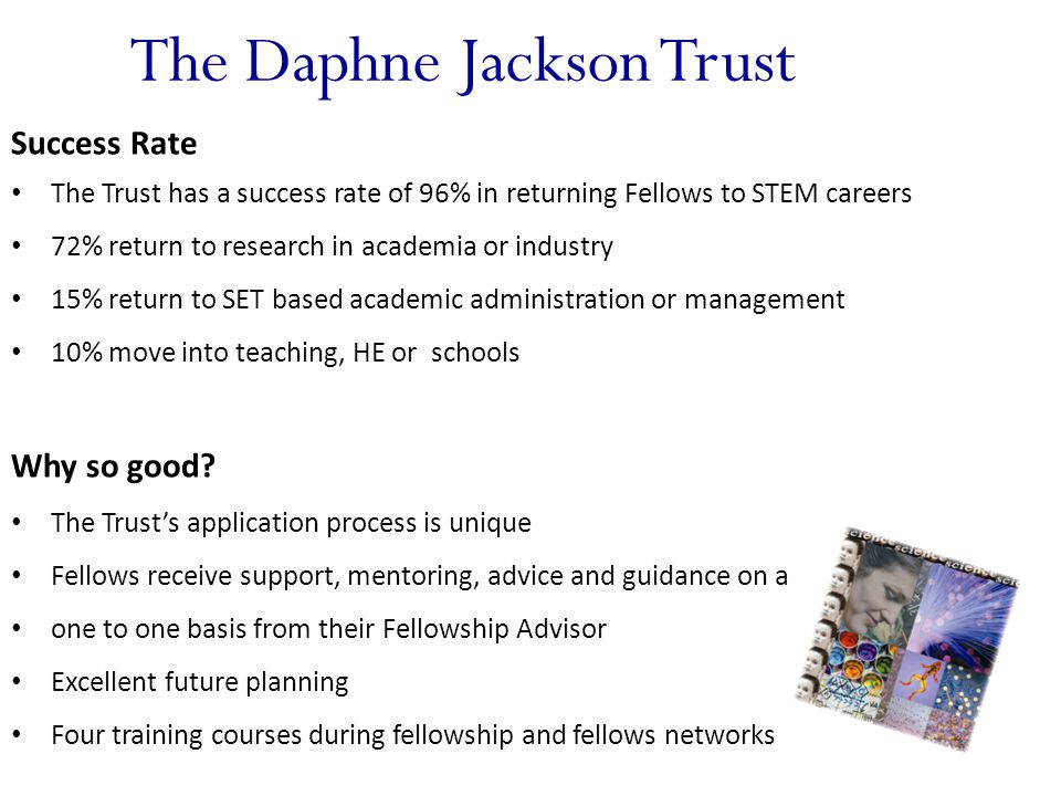 The Daphne Jackson Trust Success Rate The Trust has a success rate of 96% in returning Fellows to STEM careers 72% return to research in academia or industry 15% return to SET based academic administration or management 10% move into teaching, HE or schools Why so good.