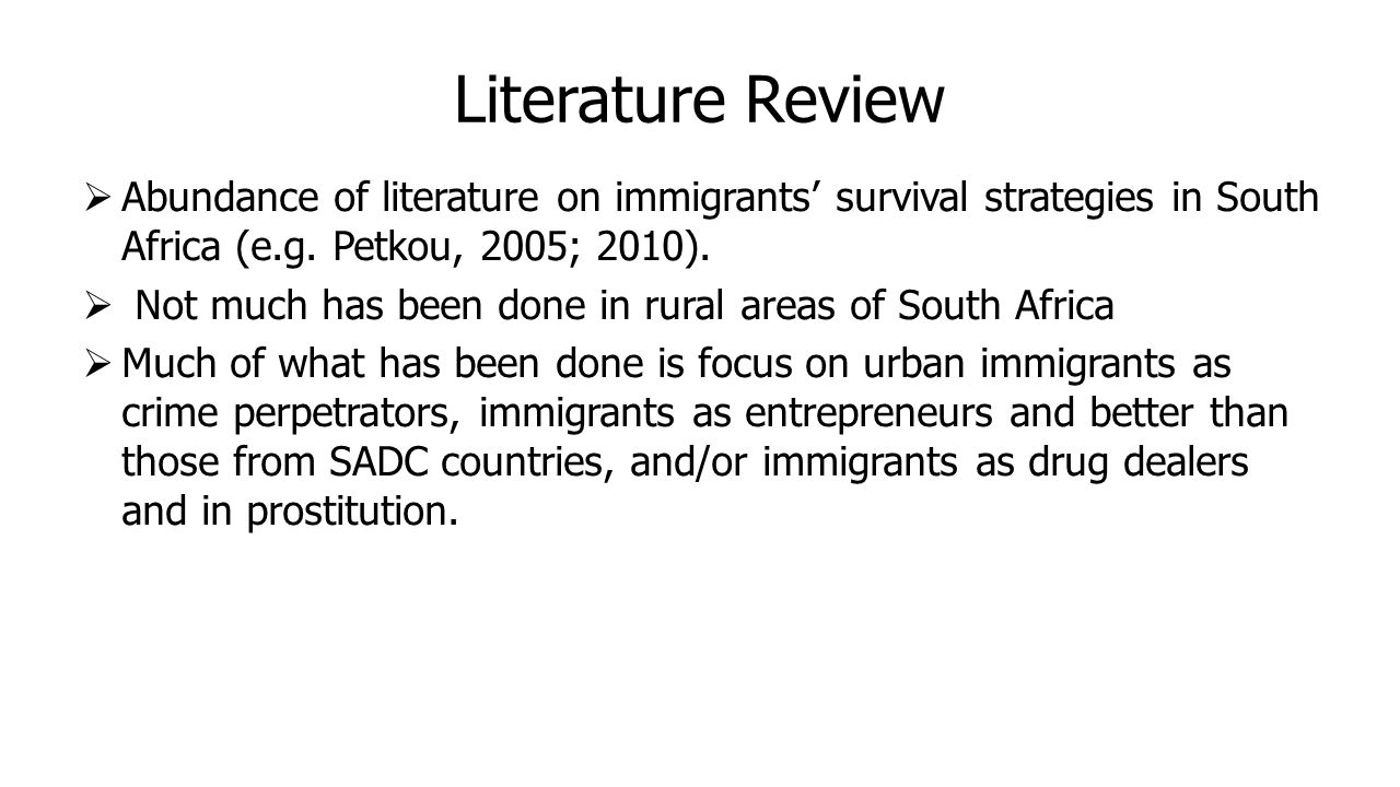 Literature Review  Abundance of literature on immigrants' survival strategies in South Africa (e.g.