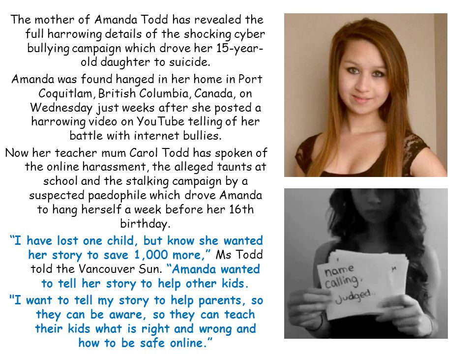 The mother of Amanda Todd has revealed the full harrowing details of the shocking cyber bullying campaign which drove her 15-year- old daughter to suicide.