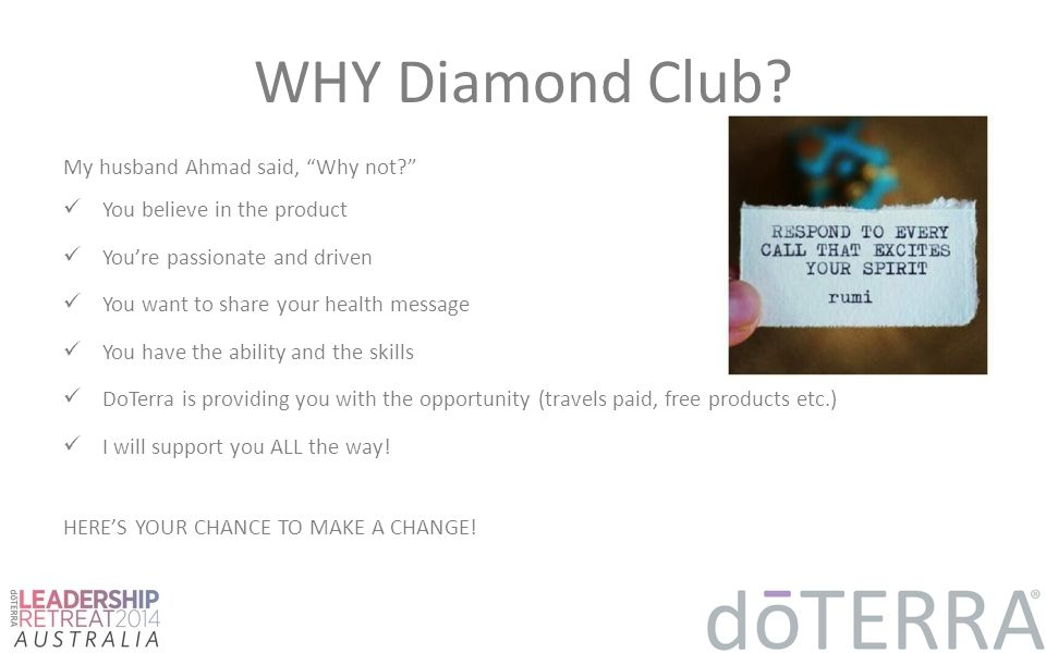 """WHY Diamond Club? My husband Ahmad said, """"Why not?"""" You believe in the product You're passionate and driven You want to share your health message You"""