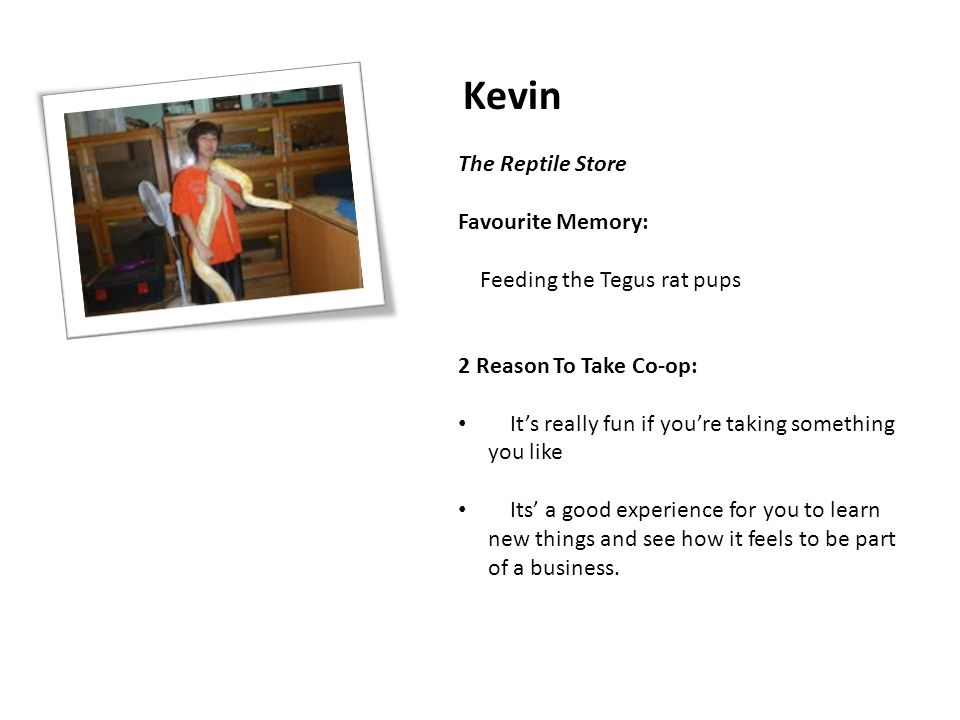 Kevin The Reptile Store Favourite Memory: Feeding the Tegus rat pups 2 Reason To Take Co-op: It's really fun if you're taking something you like Its'