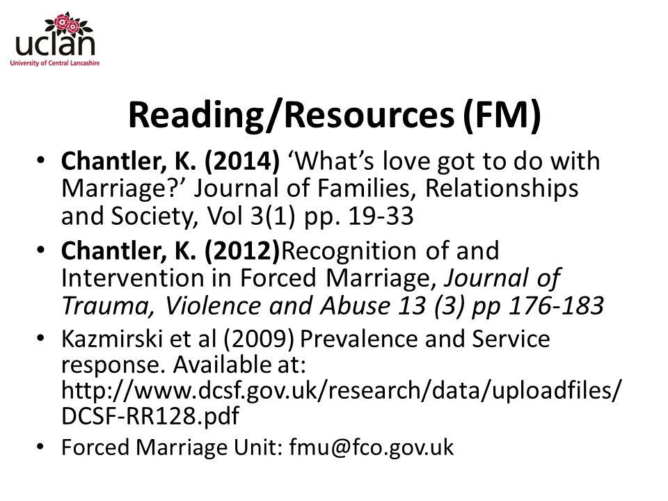 Reading/Resources (FM) Chantler, K.