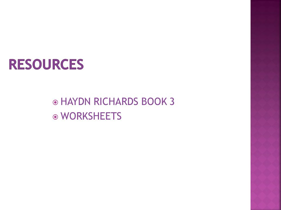  HAYDN RICHARDS BOOK 3  WORKSHEETS