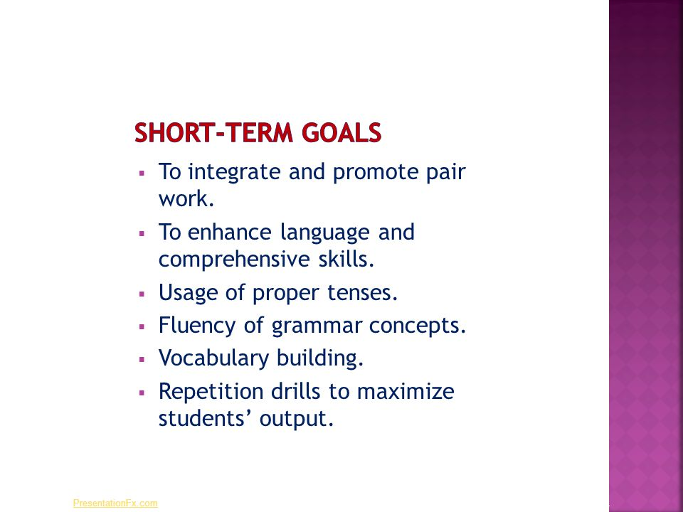  To integrate and promote pair work.  To enhance language and comprehensive skills.